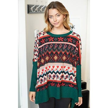 Give Me Joy Green Holiday Print Sweater