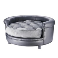 Chesterfield Faux Leather Large Dog Bed Designer Pet Sofa By Villacera Gray - Walmart.com