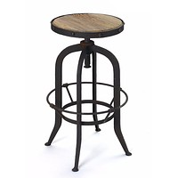 Industrial Bar Stool Wood and Steel by Go Home Ltd. 12648