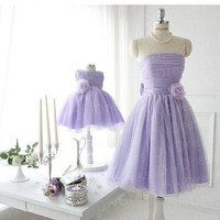 Lilac Tulle Short Bridesmaid Dresses,Tulle Short Prom Dresses,Lilac Tulle Strapless Family Dresses