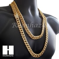 """18K Gold Lab Diamond Cuban Link Chain 15mm Bling 24"""" 30"""" Necklace L01"""