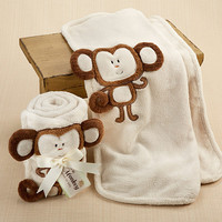 Hug Me Monkey  Plush Velour Baby Blanket