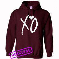xo for hoodie maroon, hooded maroon unisex adult