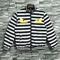 Fendi Autumn And Winter New Fashion Eye Print Stripe Keep Warm Women Men Long Sleeve Coat Top