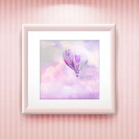 Pink Clouds, Hot Air Balloon Print on Watercolour Paper, Soft Pink, Bedroom, Nursery Art, Free Shipping