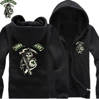 SOA Sons of anarchy the child new Fashion 2018 SAMCRO Men Sportswear Hoodies Male Hip Hop zipper Hoodie Slim Fit Sweatshirt