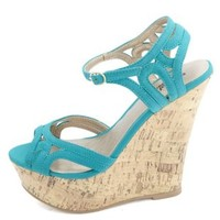 Strappy Cut-Out Peep Toe Wedge Sandals by Charlotte Russe - Teal