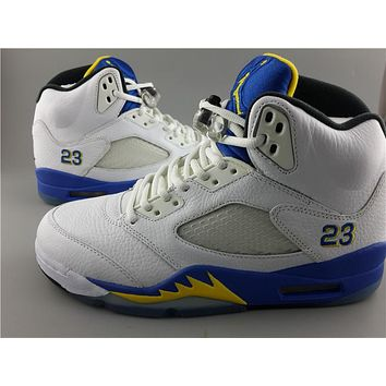 Air Jordan 5 white yan lan Basketball Shoes 41-47