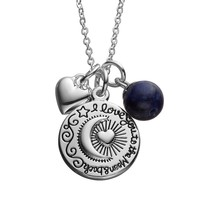 love this life Sodalite Silver-Plated Moon & Heart ''Love'' Pendant Necklace (Grey)