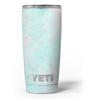 Teal Slate Marble Surface V23 - Skin Decal Vinyl Wrap Kit compatible with the Yeti Rambler Cooler Tumbler Cups