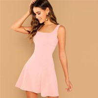 Pink Party Solid Fit And Flare Straps Neck Sleeveless Short Dress Elegant Women Dresses