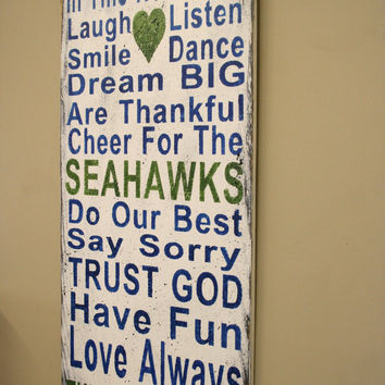 SeaHawks Family Rules Sign Wood Sign SeaHawks Wood Sign Housewarming Gift ManCave Sign Rustic Wood Sign Shabby Chic Decor Bridal Shower Gift