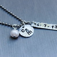 Couple's necklace, two initial necklace, date necklace, monogram necklace, personalized necklace, custom necklace, wedding gift for her