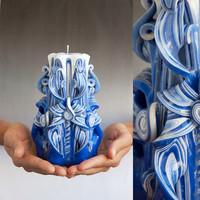 Carved candles - Blue candle - Blue and White - Christmas gifts