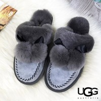 UGG Trending Women Men Wool Cute Flats Sandals Slipper Shoes Grey