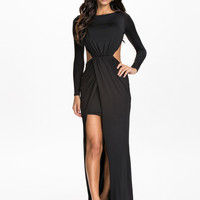 BARE BACK SLIT DRESS - long sleeve black maxi dress