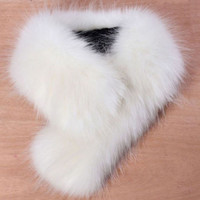 Details about High Quality New Women's Faux Fox Fur Collar Black White Beige Colors M8