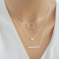 Jewelry Gift Shiny New Arrival Set Stylish Hoop Metal Necklace [8451549837]