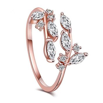 Branch Ring S925 Sterling Silver Plated 5A Level Cubic Zirconia Adjustable Opening Ring