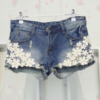 Women's Slim Fit Summer Crochet Lace Flower Hole Denim Shorts