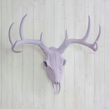 The Large Lavender Faux Taxidermy Resin Deer Head Skull Wall Mount | Lavender Deer Head w/ Colored Antlers