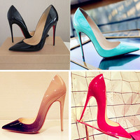 2016 hot sale Women pumps Beige and Red Bottom Pointed Toe High Heels Shoes Sexy Ladies good quality Leather Wedding Shoes