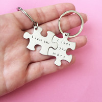 I love you more Keychains, Anniversary Gift, puzzle piece keychains, Boyfriend Girlfriend Gift