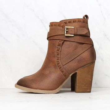 Final Sale - Not Rated - Violeta Strappy Ankle Bootie in Tan