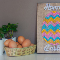 Easter sign, Happy Easter wood sign, Easter decorations, rustic wall decor, wood wall art, Easter Egg String art, Reclaimed Wood Sign
