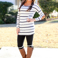 Bringing Cheer Elbow Patch Tunic - Ivory