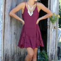 Pretty Petals Burgundy Layered Ruffle Slip Dress With Adjustable Straps