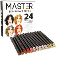 24 Color Master Markers Skin & Hair Tones Dual Tip Set - Double-Ended Art Markers with Chisel Point and Standard Brush Tip - Soft Grip Barrels - Flesh Face Manga Portrait Illustration Sketch