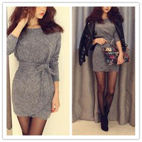 Long Sleeves Slim Knitting Mini Dress Tunic Winter Dress