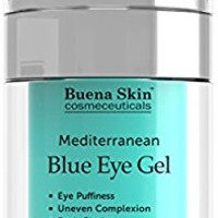 Intensive Mediterranean Blue Eye Cream Gel- Diminish Puffiness, Wrinkles, Dark Circles - Smooth and Firm Eye Area - Made with Mediterranean Blue Algae Extract - by Buena Skin 1 fl. oz.