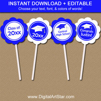 Printable Graduation Cupcake Toppers - EDITABLE Graduation Cupcake Picks - Graduation Party Decorations Royal Blue & White Instant Download