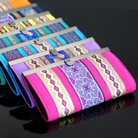 Bohemian Style Women Embroidery Card Holder Wallet Coin Purse Ladies Clutch Bags