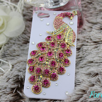 peacock iphone case, i phone 4 4s 5 case, cool cute iphone4 iphone4s 5 case,stylish plastic rubber cases cover, Artificial Swarovski Crystal
