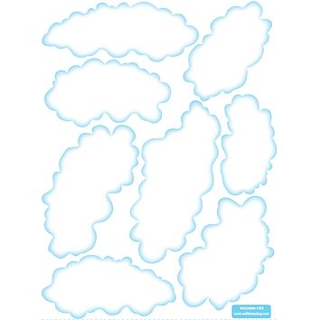 Eight Small Fluffy Could Wall Decals, Removable and Reusable Fabric Wall Stickers
