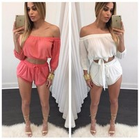 Women Casual slash-neck  jumpsuit  Fashion sexy club work beach wear Red White color jumpsuit new style