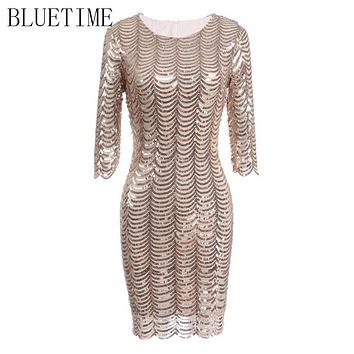 BLUETIME 1920s Sexy Sequin Great Gatsby Dress Women Lady Vintage Bodycon Evening Party Elegant Fringe Autumn Dresses Costume 20S