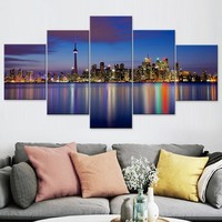 Oil Painting on Canvas Decorative City View Picture Modern Wall Decoration Posters and Prints Wall Art Set Wallpaper Home Decor