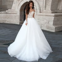 Backless Wedding Dress Long Sleeves Lace Bridal Dresses Princess Wedding Gowns