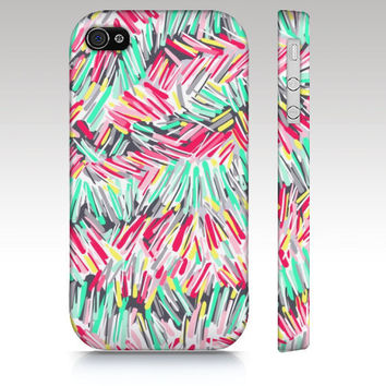 iphone 5 case iPhone 4s case, iPhone 4 case, colorful abstract painting, colorful striped,  art for your phone