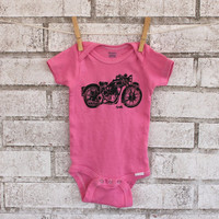 Triumph Motorcycle baby bodysuit, Cotton Infant Creeper, One Piece Snapsuit, pink, great baby shower gift