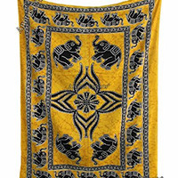 """Amitus Exports ® 1 X Elephant Batik Yellow Black Color 79""""x54"""" Approx. Inches Twin Size Cotton Fabric Multi-Purpose Handmade Tapestry Hippy Indian Mandala Throws Bohemian Tapestries"""