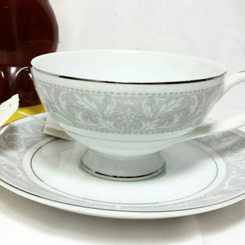 Vintage Imperial China W Dolton Japan Teacup and Saucer/5671 Whitney Silver and Gray Cup/Tea Time Cup and Saucer/Wedding Gift