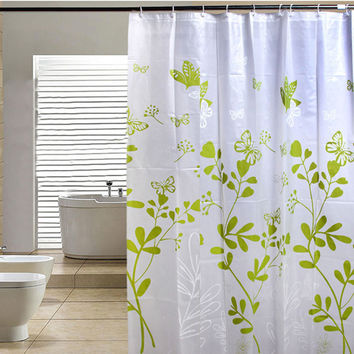 Butterfly Tree PEVA Bathroom Waterproof Fabric Shower Curtain With 12 Hooks V1NF