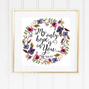 """Nursery Bible verse print decor, Scripture nursery, Square prints, Christian wall art, 12x12"""", My only hope is in you, Framed quotes art"""