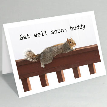 Get Well Soon card - Feel better soon card squirrel greeting card - Cute card funny card