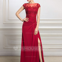 [US$ 177.49] Sheath/Column Scoop Neck Floor-Length Chiffon Tulle Mother of the Bride Dress With Ruffle Beading Appliques Lace Sequins Split Front (008056834)